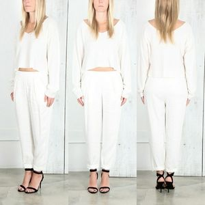 Raquel Allegra easy pants in dirty white